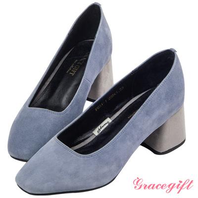 Grace gift-全真皮復古方頭撞色跟鞋 藍