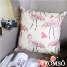 TROMSO品味英倫 棉麻抱枕U86三角紅鶴