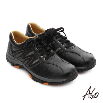 A.S.O 3D超動能 摔花牛皮彈力綁帶奈米休閒鞋 黑色