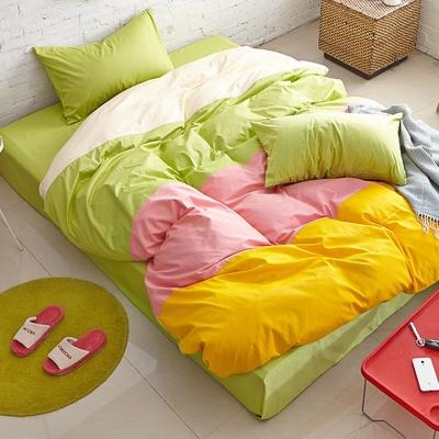 Aileen-青蘋果-撞色糖果-加大四件式被套床包