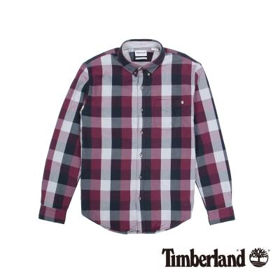 Timberland 男款紗染紫色長袖BACK RIVER牛津格子襯衫