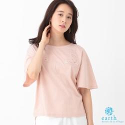earth music 蕾絲花邊短袖T恤/上衣