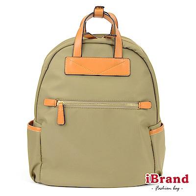 iBrand 簡約設計撞色皮革手提後背包-淺綠