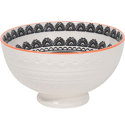 NOW 壓紋餐碗(圖騰白)