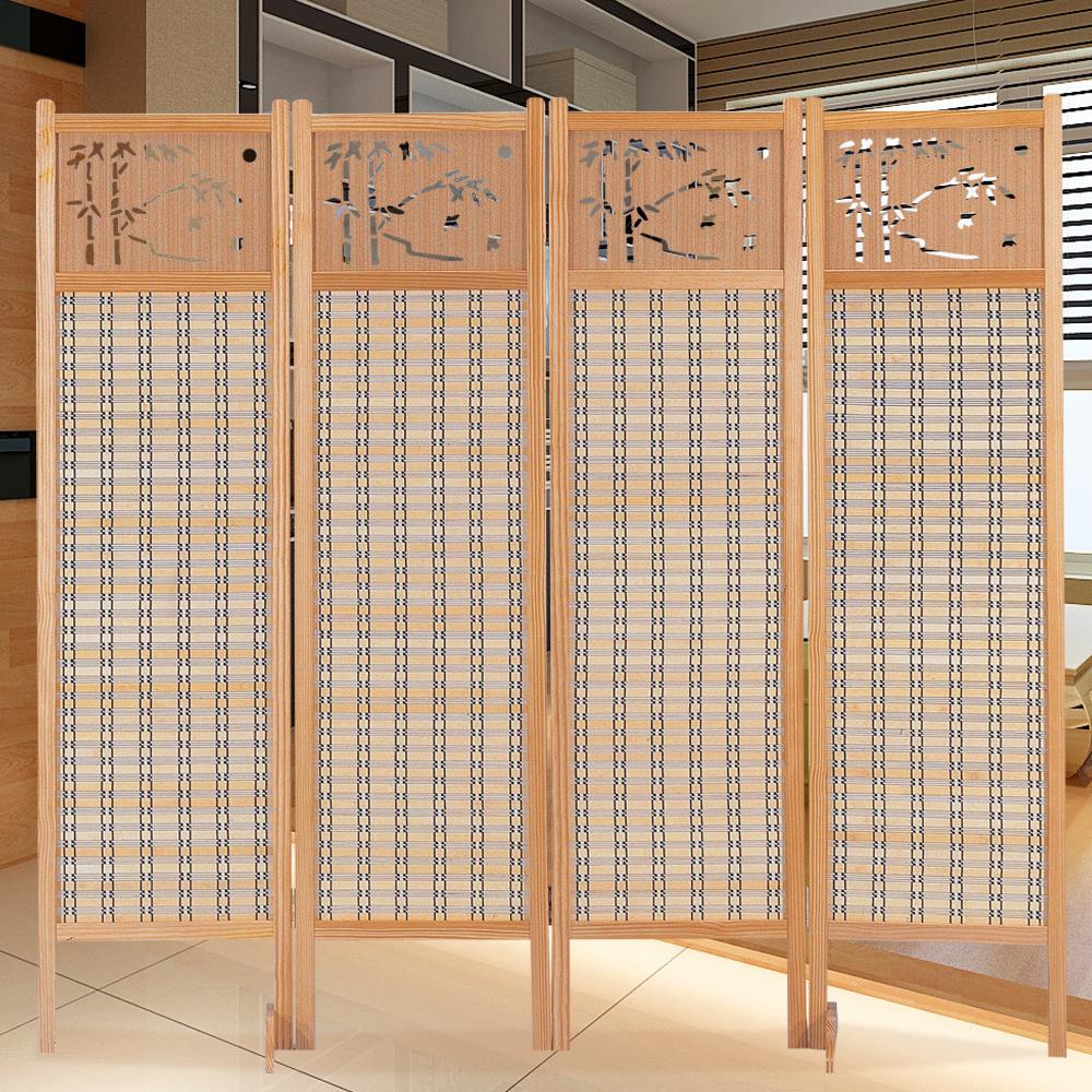 時尚屋 中國風雕刻6尺竹簾屏風 寬182cm-免組