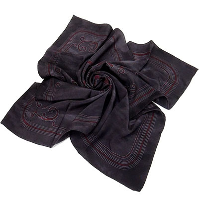 GUCCI LOGO字樣造型絲巾(黑色)