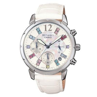 CASIO 甜美萊茵石計時流線造型女錶(SHN-5012LP-7A)-白/37mm