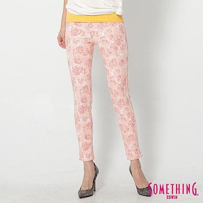SOMETHING LADIVA印花合身牛仔褲-女-粉桔色