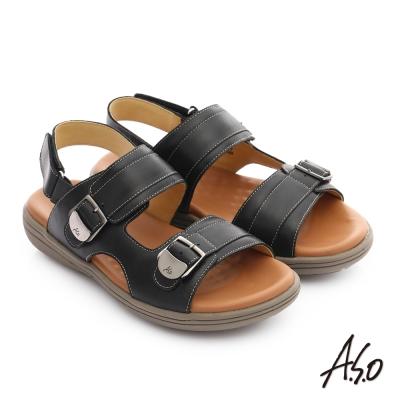 A.S.O 輕量樂活 全牛皮舒適休閒男涼鞋 黑色