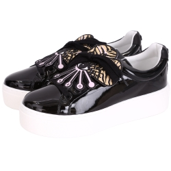 KENZO Flower Platform 花造型漆皮綁帶厚底鞋(黑色)