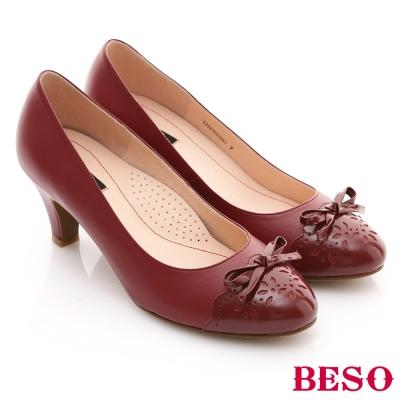 BESO-俏甜軟時力-全真皮舒適典雅雕花高跟鞋-紅