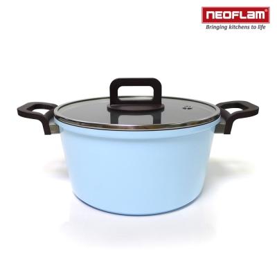 韓國NEOFLAM PHILOS系列 24cm陶瓷不沾湯鍋+玻璃鍋蓋