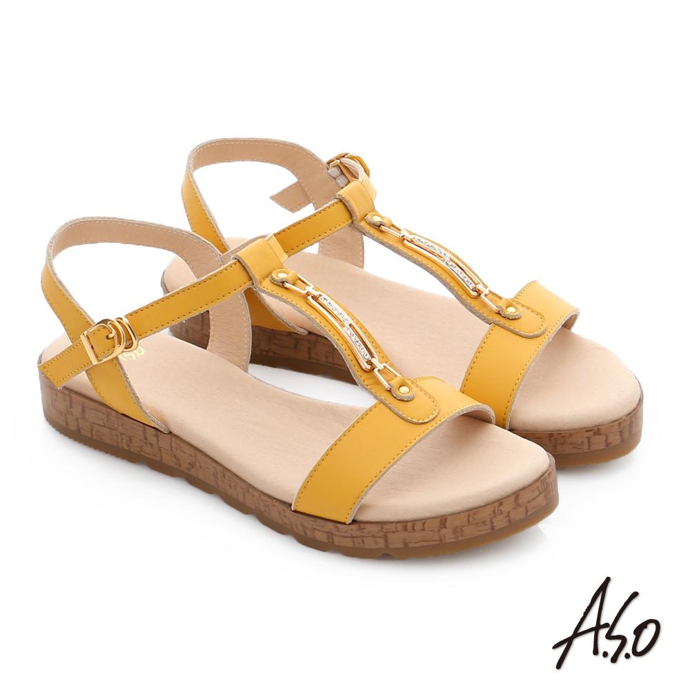 A.S.O 嬉皮假期 工字鑽飾釦厚底涼拖鞋 黃色