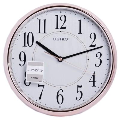 SEIKO精工 夜光 玫瑰金光感外殼 時鐘 掛鐘(QXA671P)