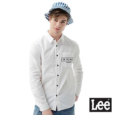 Lee ON THE MOVE口袋印花長袖襯衫-男款-白