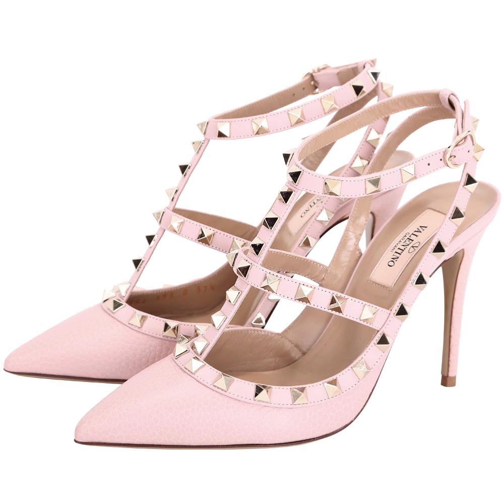 VALENTINO ROCKSTUD 小牛皮壓紋鉚釘繫帶高跟鞋(粉色)