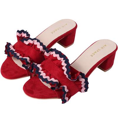 AIR SPACE 氣質波浪織帶中低跟絨布拖鞋(紅)