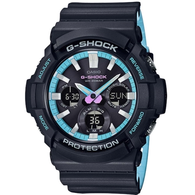 G-SHOCK時尚霓虹藍色調設計強悍風範休閒錶(GAS-100PC-1)52.5mm