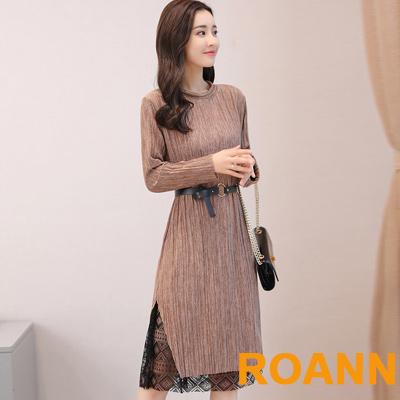 圓領拼接蕾絲花紋長袖針織洋裝 (共二色)-ROANN