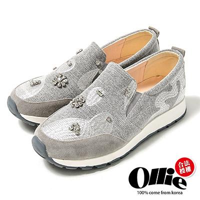 Ollie韓國空運-復古中國風剌繡花鑽帆布懶人鞋-灰