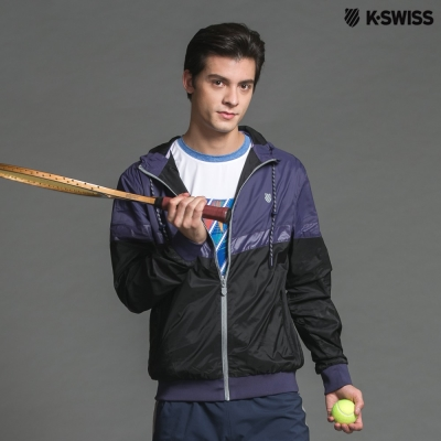 K-Swiss Basic Windbreaker風衣外套-男-黑/深紫
