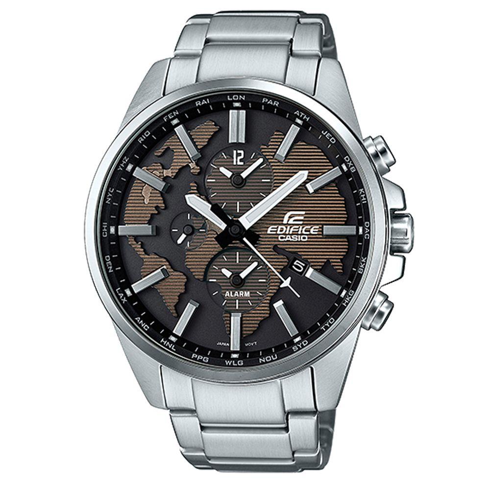 EDIFICE 世界地圖浮刻設計大錶面時尚腕錶(ETD-300D-5A)咖啡面46.3mm