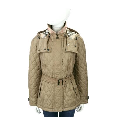 BURBERRY 黃褐色可拆式連帽絎縫風衣外套