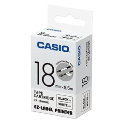 CASIO  標籤機專用特殊色帶-18mm(線材專用)白底黑字-XR-18HMWE1