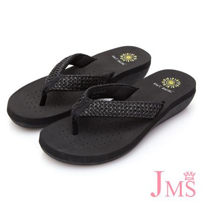 JMS-海島出遊必備舒適夾腳拖鞋-黑色