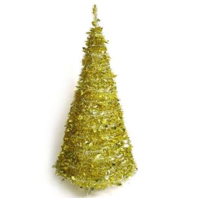 6尺(180cm)創意彈簧摺疊聖誕樹(金色系)