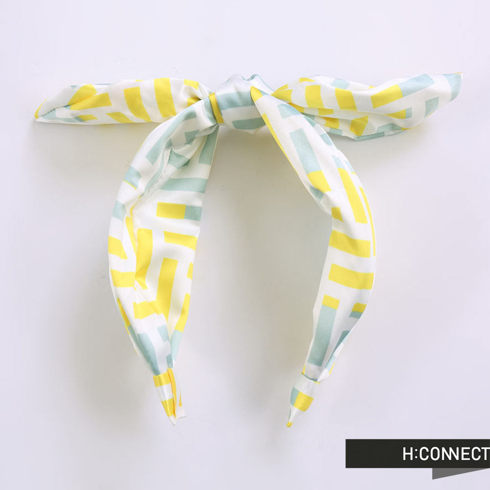 H:CONNECT 韓國品牌 迷宮線條髮帶髮箍 - 綠