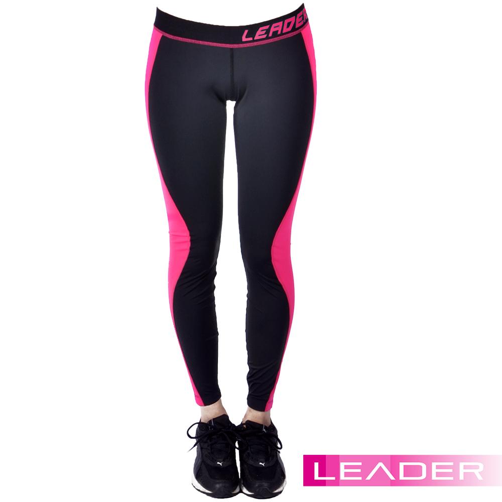 壓縮緊身褲 運動專用 C系列 吸排透氣 桃紅拼色 Leader-快