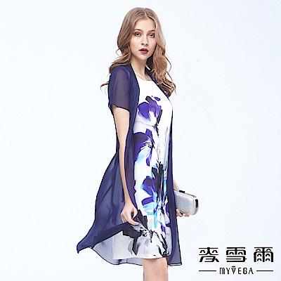 麥雪爾-古典水墨花卉無袖短洋裝