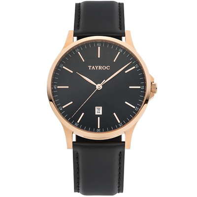 TAYROC英式簡約時尚真皮手錶-黑X玫瑰金框/42mm
