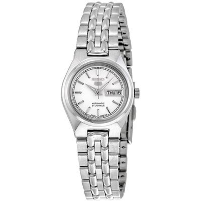 SEIKO 精工5夜光白色錶盤不鏽鋼女錶(SYM787J1)-白/24mm