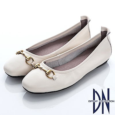 DN 舒適樂活 真皮竹結金屬飾釦娃娃鞋-白