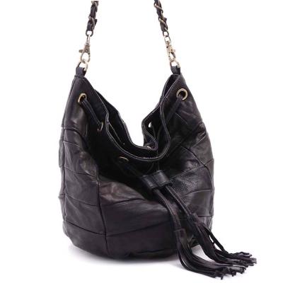 ANNA DOLLY 羊皮2WAY水桶包 Leather系列 經典黑