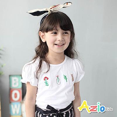 Azio Kids 童裝-上衣 線繡花草瓶蓬袖上衣(白)