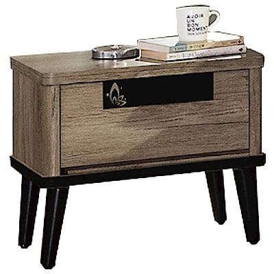 品家居 波米斯1.8尺胡桃木紋單抽床頭櫃-53x41x51cm免組