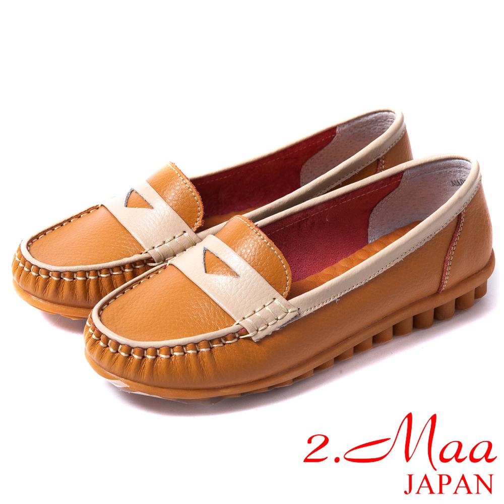 2.Maa 真皮系列-柔軟舒適‧經典百搭超柔軟牛皮莫卡辛鞋--耀眼橘