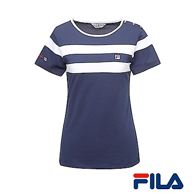 FILA女性圓領條紋T恤(學院藍)5TER-1438-NV