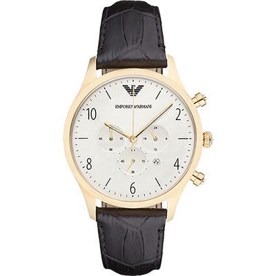 Emporio Armani Classic 復刻計時錶-銀x金框/43mm