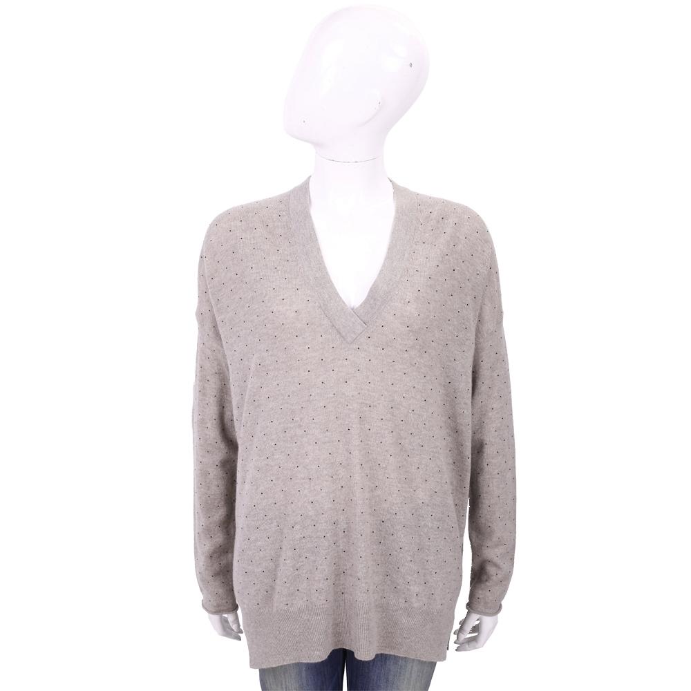 ALLUDE 喀什米爾灰藕色星空鑽飾V領針織羊毛衫
