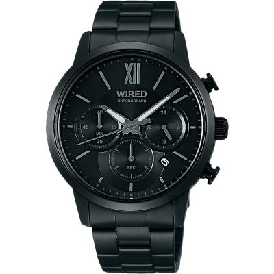 WIRED 東京時尚聖誕限定三眼計時手錶(AY8040X1)-鍍黑/40mm