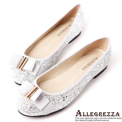 ALLEGREZZA-全真皮-華麗炫金亮片緞帶蝴蝶