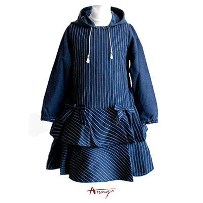 牛仔條紋蝴蝶結雙層裙擺洋裝*7402藍