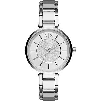 A│X Armani Exchange 品牌字母浮雕腕錶-銀/38mm