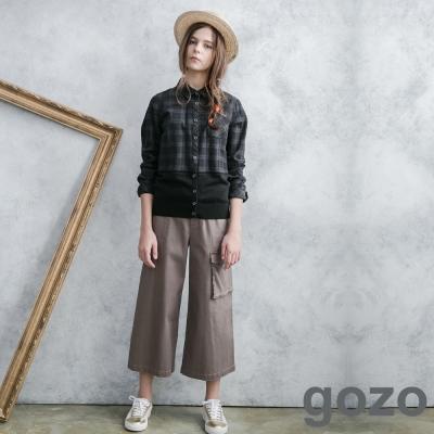 gozo-休閒感側邊口袋直筒寬褲-共2色