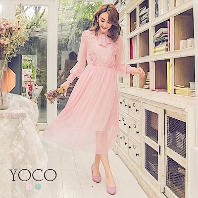 東京著衣-yoco夢幻領綁結花邊點點網紗假兩件長洋裝-S.M.L(共二色)