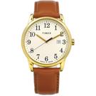 TIMEX 天美時 美國第一品牌 專利冷光照明 日期 真皮手錶-米白x金框x駝/38mm